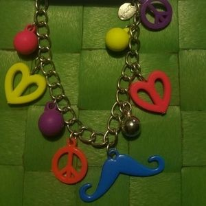 Cute Fun Heart, Peace Sign, Neon Charm Bracelet